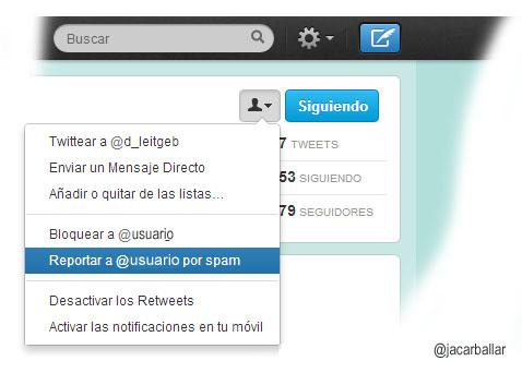 Reportar spam en Twitter