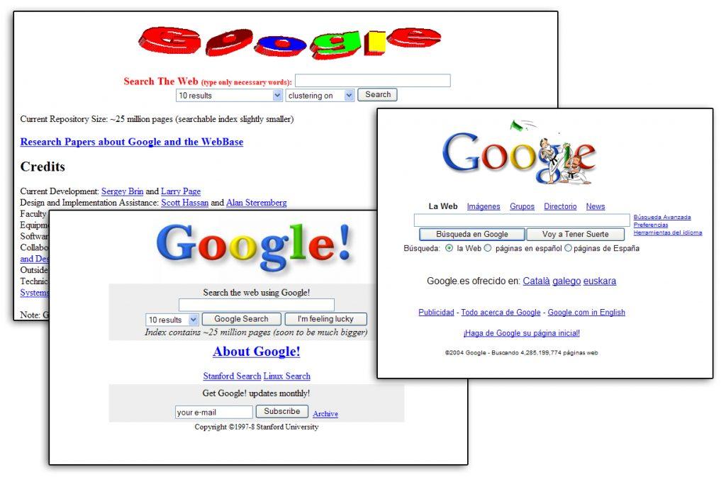 Distintas apariencias en la evolución de Google
