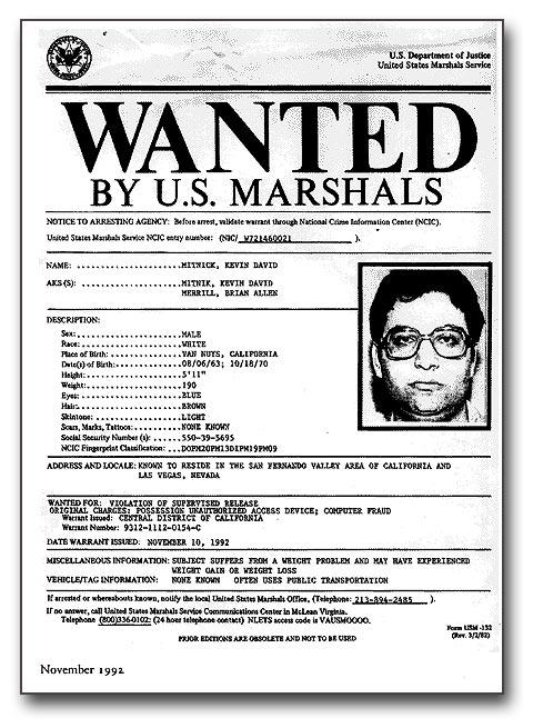 Ficha policial de Mitnick