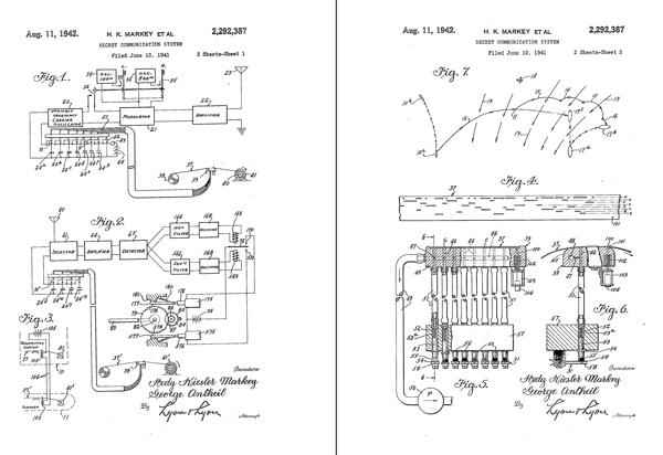 Hojas de la patente de Lamarr y Antheil