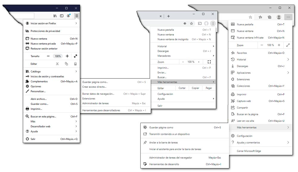 Botón Opciones en distintos navegadores