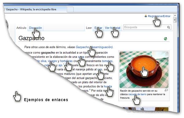 Ejemplo de enlaces en una página Web