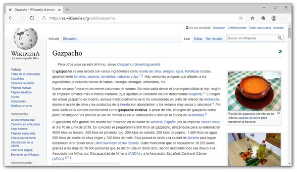 Ejemplo de página Web