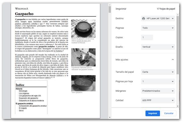 Imprimir una página Web