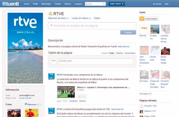 Página de radio televisión española en Tuenti