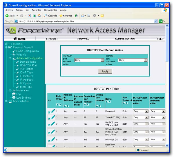Ejemplo de configuración Web de un firewall hardware