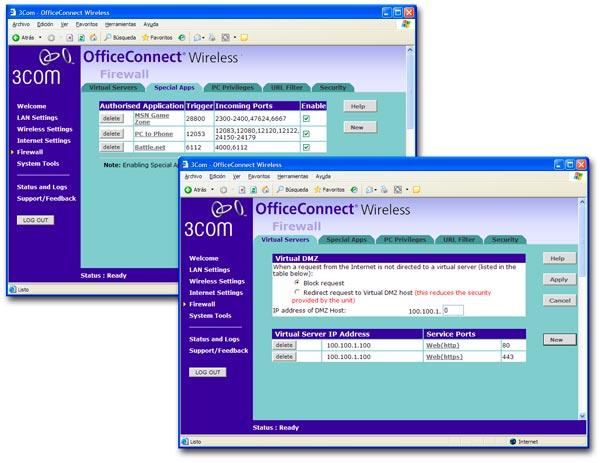 Ejemplo de configuración de un firewall en un hardware compartido