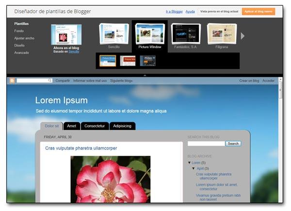 Ejemplo del proceso de diseño de la plantilla de un blog