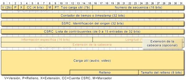Formato de los paquetes RTP